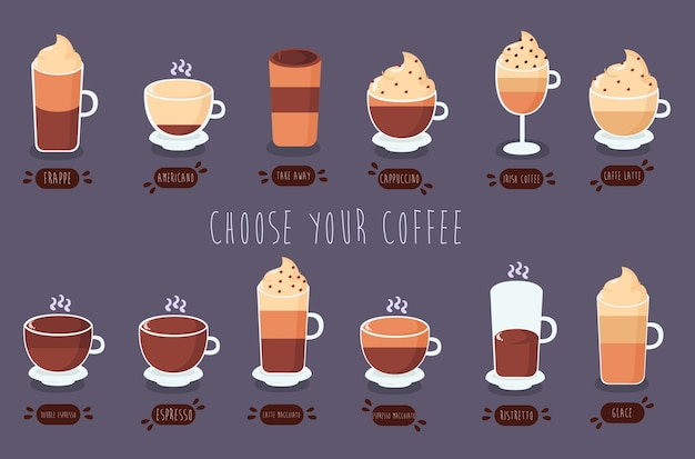 Pacchetto di illustrazione di tipi di caffè