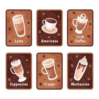 Insieme dell'illustrazione di tipi di caffè Vettore Premium
