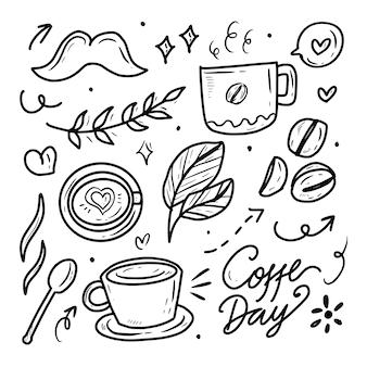 Accumulazione del disegno del fagiolo di vettore del caffè con stile lineart