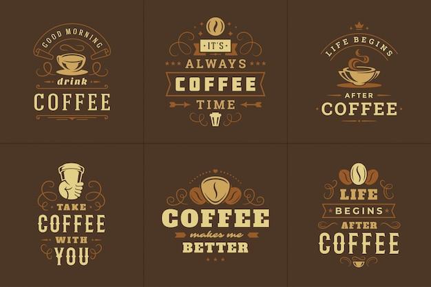 Logo vintage caffè con citazioni