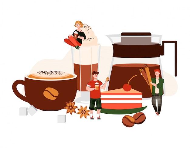 Caffè con persone dei cartoni animati tra tazza gigante, bicchiere e pentola