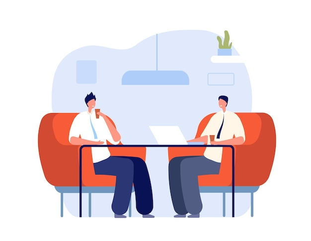Caffè con i colleghi. ufficio relax, lavoro professionale in pausa. pranzo aziendale aziendale drink, intervista o concetto di vettore della zona lounge. comunicazione aziendale, illustrazione di persone che incontrano