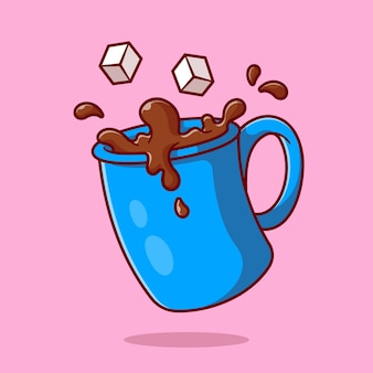 Caffè con cartone animato di zucchero
