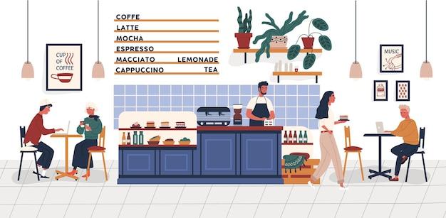 Caffetteria, caffetteria o bar con persone sedute ai tavoli, che bevono caffè e lavorano su laptop e barista in piedi al bancone