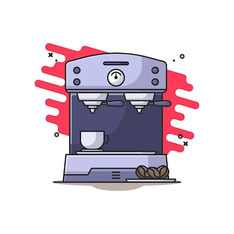 Illustrazione di caffettiera e chicchi di caffè