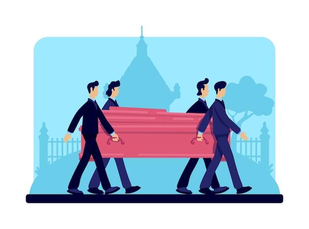 Portatori di bara colore piatto. processione funebre. cerimonia di sepoltura. servizio rituale. uomo in giacca e cravatta personaggi dei cartoni animati 2d con lapidi e cripta sullo sfondo