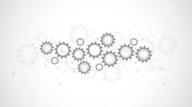 Ingranaggi e meccanismi delle ruote dentate. tecnologia e ingegneria digitale hi-tech. background tecnico astratto.