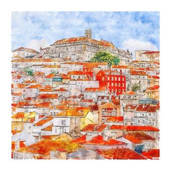 Illustrazione disegnata a mano di schizzo dell'acquerello di coimbra portogallo
