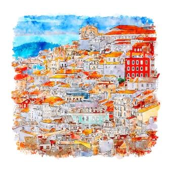 Disegnato a mano di schizzo dell'acquerello di coimbra portogallo