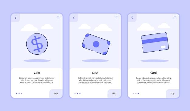 Schermata di inserimento delle carte coin cash per app mobili