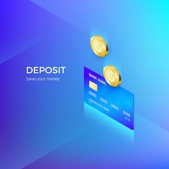 La moneta cade nel banner isometrico della carta di credito. servizio bancario o di pagamento. ricostituzione del deposito e risparmio di denaro.