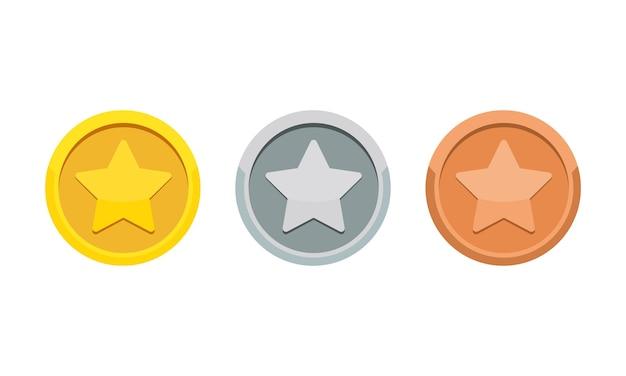 Medaglia del gioco di monete con l'icona a forma di stella. medaglia d'oro, d'argento e di bronzo. premio 1°, 2° e 3° posto. vettore su sfondo bianco isolato. env 10.