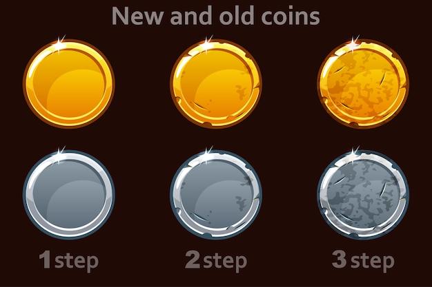 Icona della moneta. monete d'oro e d'argento. 3 passaggi per estrarre una moneta dal nuovo al vecchio.