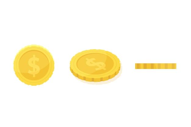 Icona della moneta. set di icone a diverse angolazioni per l'animazione. illustrazione vettoriale.