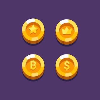 Coin oggetto design piatto illustrazione per il design dell'icona di gioco