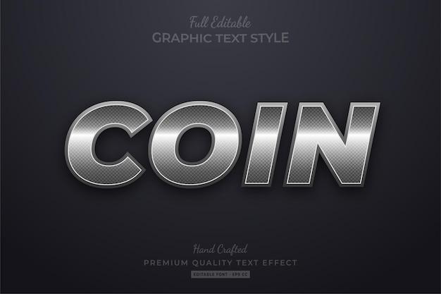 Moneta d'argento elegante stile carattere modificabile effetto testo