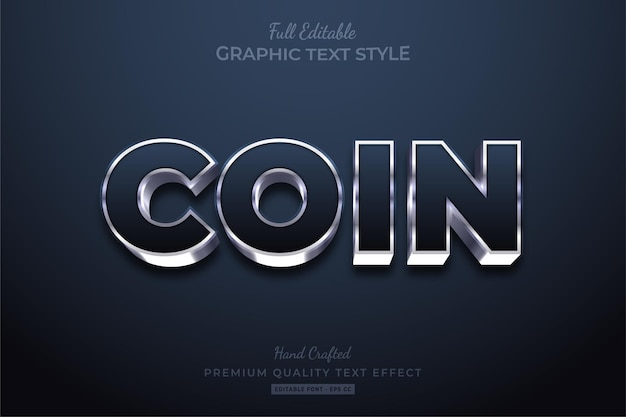 Stile carattere effetto testo modificabile bagliore d'argento moneta