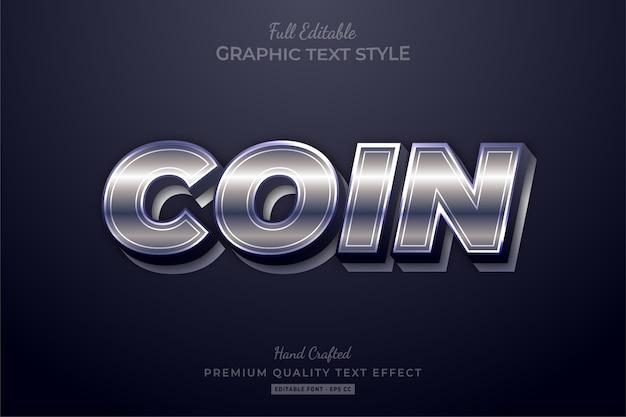Effetto di testo modificabile bagliore d'argento moneta