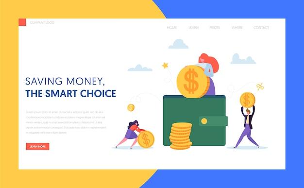 Moneta nella pagina di destinazione dei contanti online del portafoglio