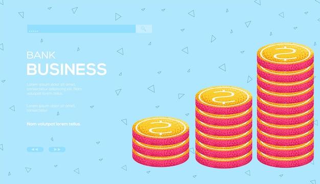 Affari di banca di concetto di monete.