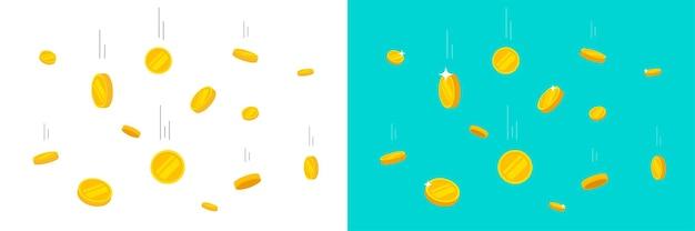 Monete che cadono o soldi d'oro che volano e cadono pioggia vettore piatto fumetto illustrazione