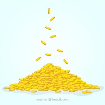Monete illustrazione vettoriale Vettore Premium