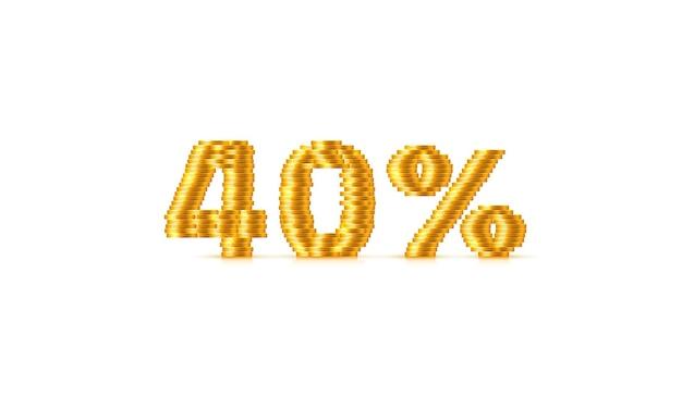 Monete stack 40 vendita fuori segno di testo. illustrazione vettoriale