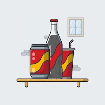 Illustrazione di coca cola. stile cartone animato piatto