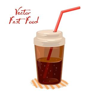 Bevanda di cola o coca cola in tazza chiusa con paglia sul tovagliolo