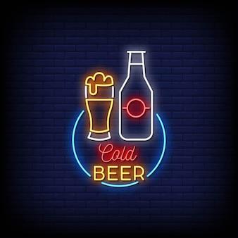 Stile di insegne al neon con logo birra fredda