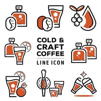 Icona della linea di caffè freddo e artigianale