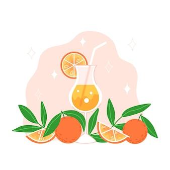 Bevanda fredda, arance e foglie in stile piatto