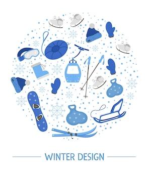 Composizione rotonda dell'attrezzatura sportiva di stagione fredda.