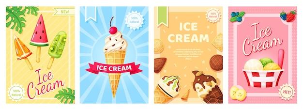 Banner promozionale di dolci estivi freddi