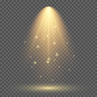 Illuminazione gialla fredda con faretto. effetti di illuminazione della scena su uno sfondo trasparente scuro. illustrazione vettoriale