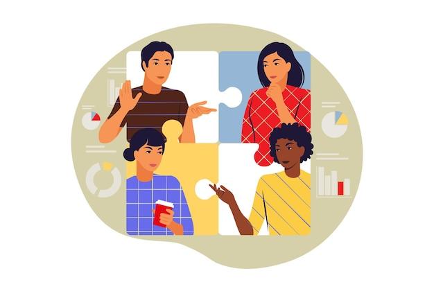 Concetto di collaborazione. simbolo di lavoro di squadra, cooperazione, partenariato. illustrazione vettoriale. appartamento.