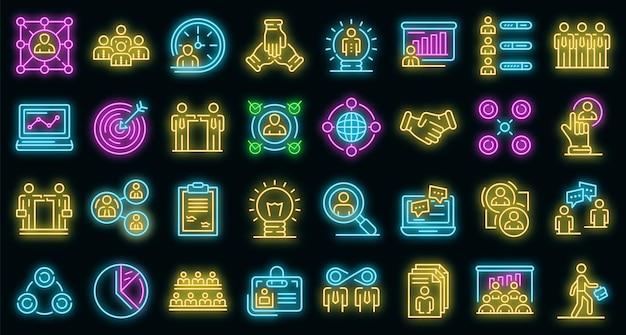 Set di icone di collaborazione. contorno set di icone vettoriali di collaborazione colore neon su nero