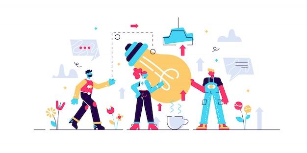 Illustrazione di collaborazione. processo di persone che lavorano insieme per raggiungere o completare obiettivi o attività comuni. potere di cooperazione al team di successo o all'obiettivo dell'azienda.