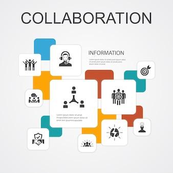 Modello di icone di collaborazione infografica 10 linee. lavoro di squadra, supporto, comunicazione, motivazione icone semplici