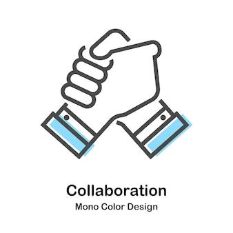Collaborazione mono color illustration