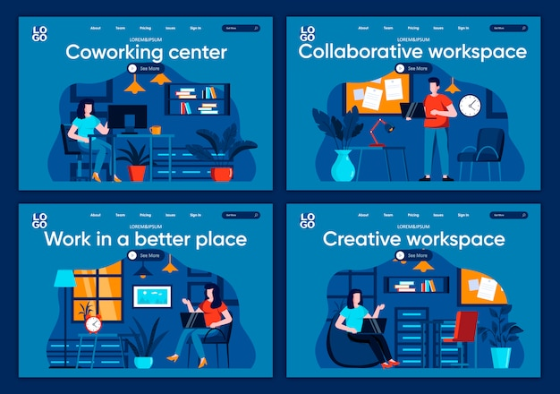Set di pagine di destinazione piane per lo spazio di lavoro collaborativo. persone che lavorano in luoghi moderni e confortevoli per siti web o pagine web cms. centro di coworking, illustrazione creativa dell'area di lavoro.