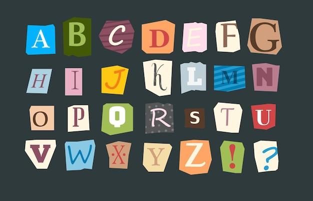Alfabeto di collage. lettere affettate vari font in stile divertente per volantini o note anonime vettore alfabeto punk colorato. illustrazione alfabeto collage, tipografia lettera carattere
