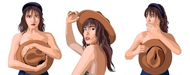 Collage di una bella ragazza caucasica in posa in diverse posizioni