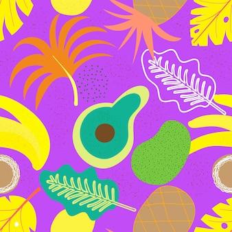 Modello senza cuciture floreale contemporaneo del collage. frutti e piante esotici moderni della giungla. la progettazione creativa lascia il modello, illustrazione disegnata a mano di vettore dell'acquerello. stampa di monstera, vettore