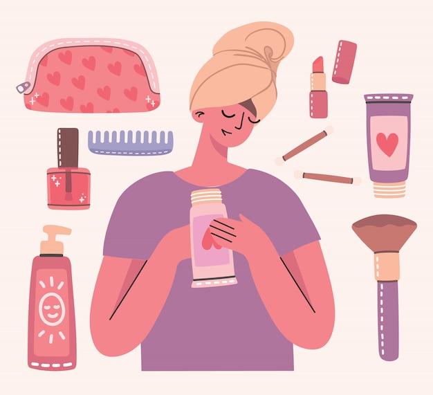 Collage di cosmetici e prodotti per la cura del corpo intorno alla ragazza con un asciugamano. sei una bellissima carta. rossetto, lozione, pettine, polvere, profumi, pennello, smalto per unghie.