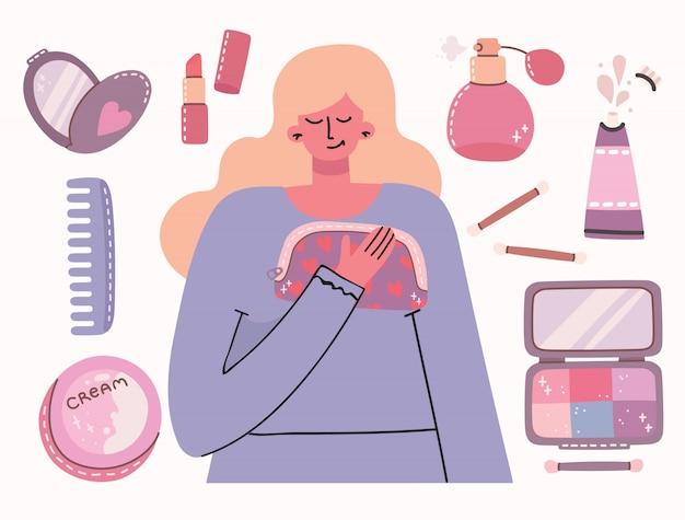 Collage di cosmetici e prodotti per la cura del corpo intorno alla ragazza. sei una bellissima carta. rossetto, lozione, pettine, polvere, profumi, pennello, smalto per unghie.