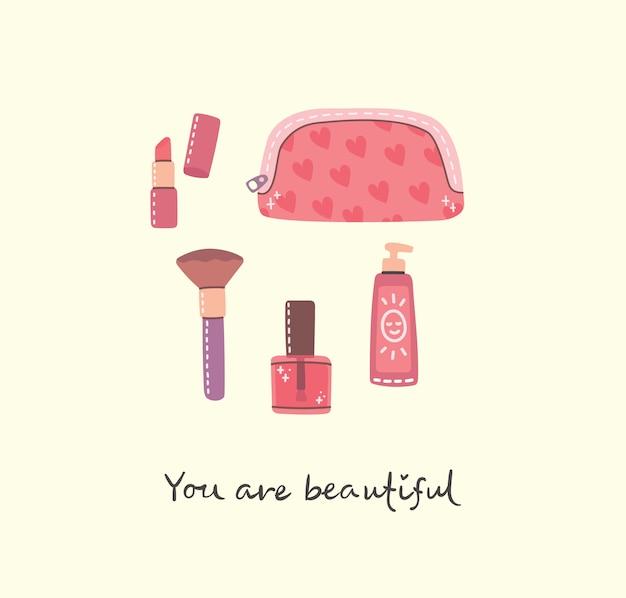 Collage di cosmetici e prodotti per la cura del corpo per il trucco. illustrazione moderna di vettore in stile piano.