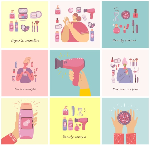 Collage di illustrazioni con cosmetici e prodotti per la cura del corpo per il trucco vicino alle ragazze. illustrazione moderna in stile piatto.