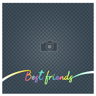 Collage di cornice per foto e firmare i migliori amici illustrazione vettoriale, sfondo. cornice per foto vuota per l'inserimento dell'immagine