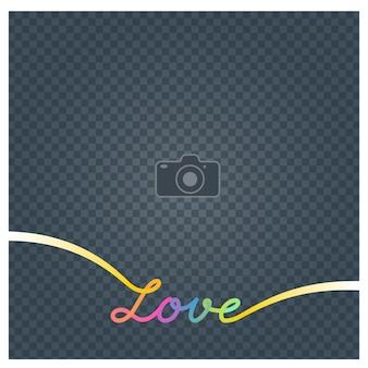 Collage di cornice per foto e illustrazione vettoriale di segno amore, sfondo. elemento di design con cornice per foto vuota